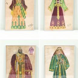 Imatge dels esbossos dels vestits dels gegants de La Patum