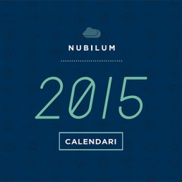 Calendari de Nubilum amb logotip del any 2015 en color blau fosc
